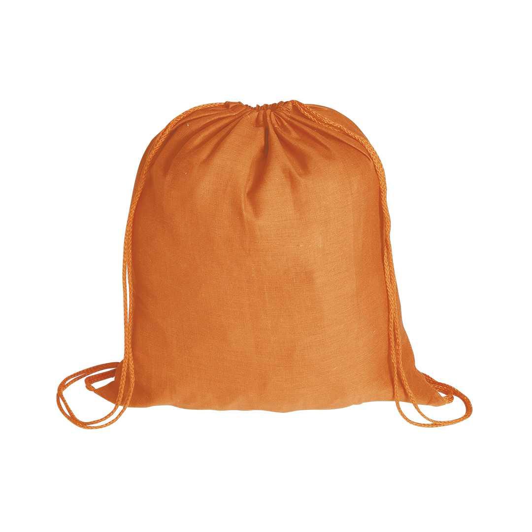 Mochila de cuerdas en tejido 100% algodón de suave acabado de alegres colores. Con cuerdas autocierre a juego.Medidas: 37x41 cmPeso: 44 gÁrea máxima de marcaje: 190x220 mmMaterial: Algodón 100%