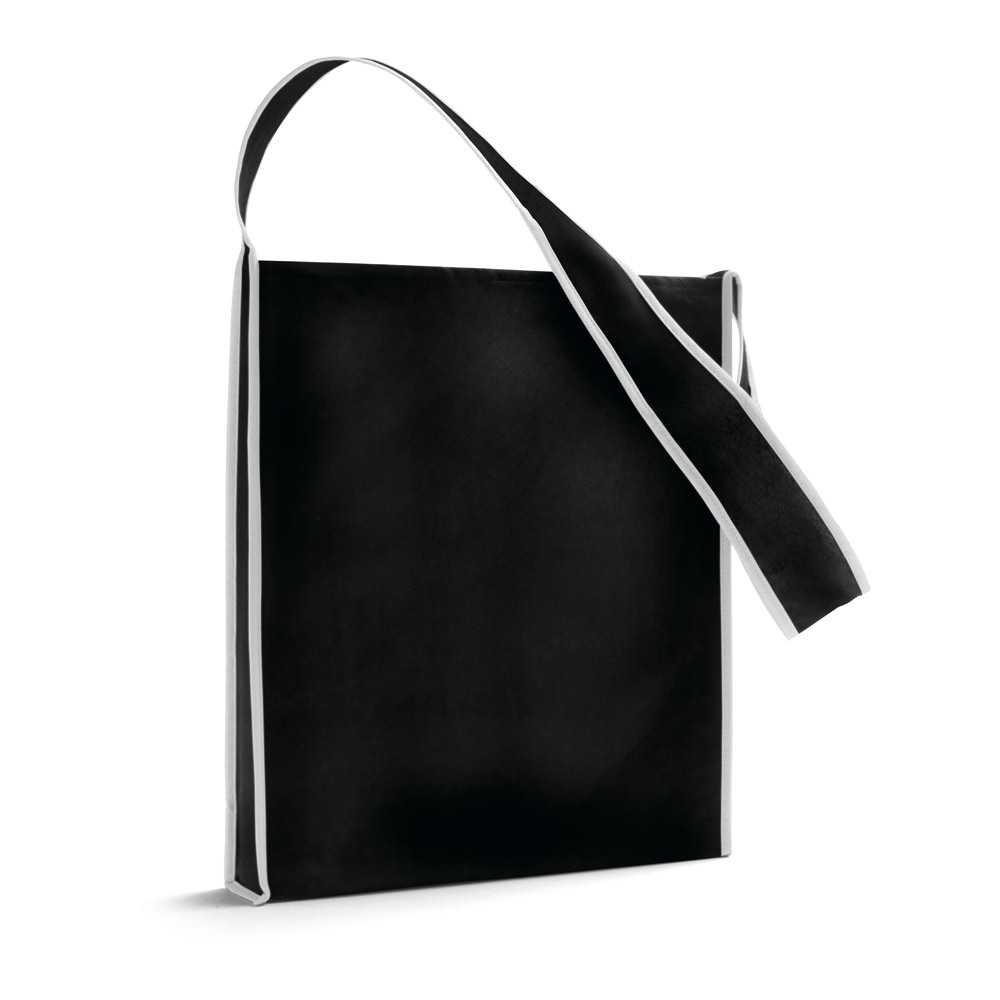 Bolso con asa bandolera de 95 cm. Disponible en cinco colores. Portadocumentos personalizado barato especial para ferias y congresos.Medidas: 35x39x6 cmPeso: 40 gÁrea máxima de marcaje: 300x300 mmMaterial: Non woven 80 g/m2