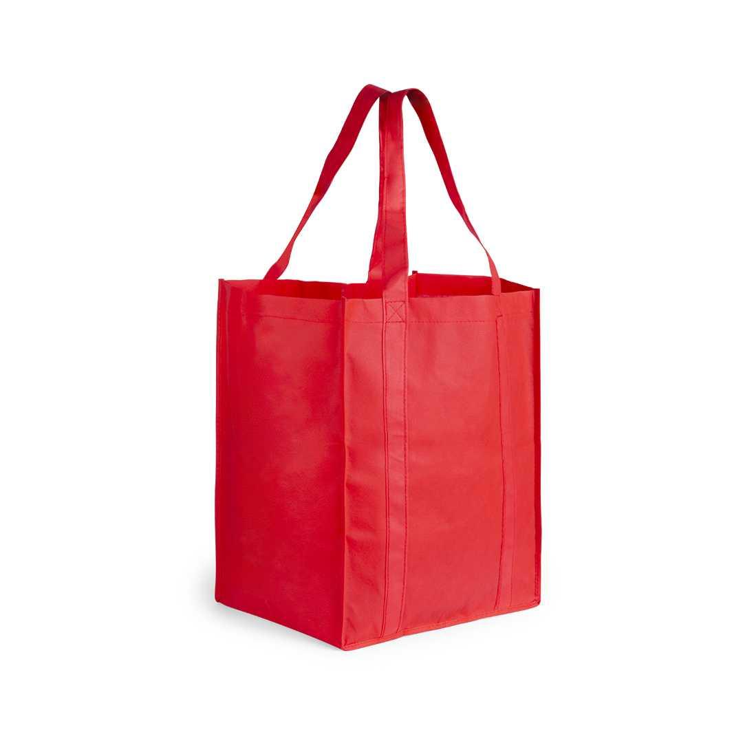 Bolsa de tamaño XL, en variada gama de vivos colores. Con asas largas de 52 cm, reforzadas a lo largo del cuerpo de la bolsa y acabado cosido. Resistencia hasta 10 kg de peso.Medidas: 33x38x25 cmPeso: 62 gÁrea máxima de marcaje: 120x250 mmMaterial: Non woven 80 g/m2