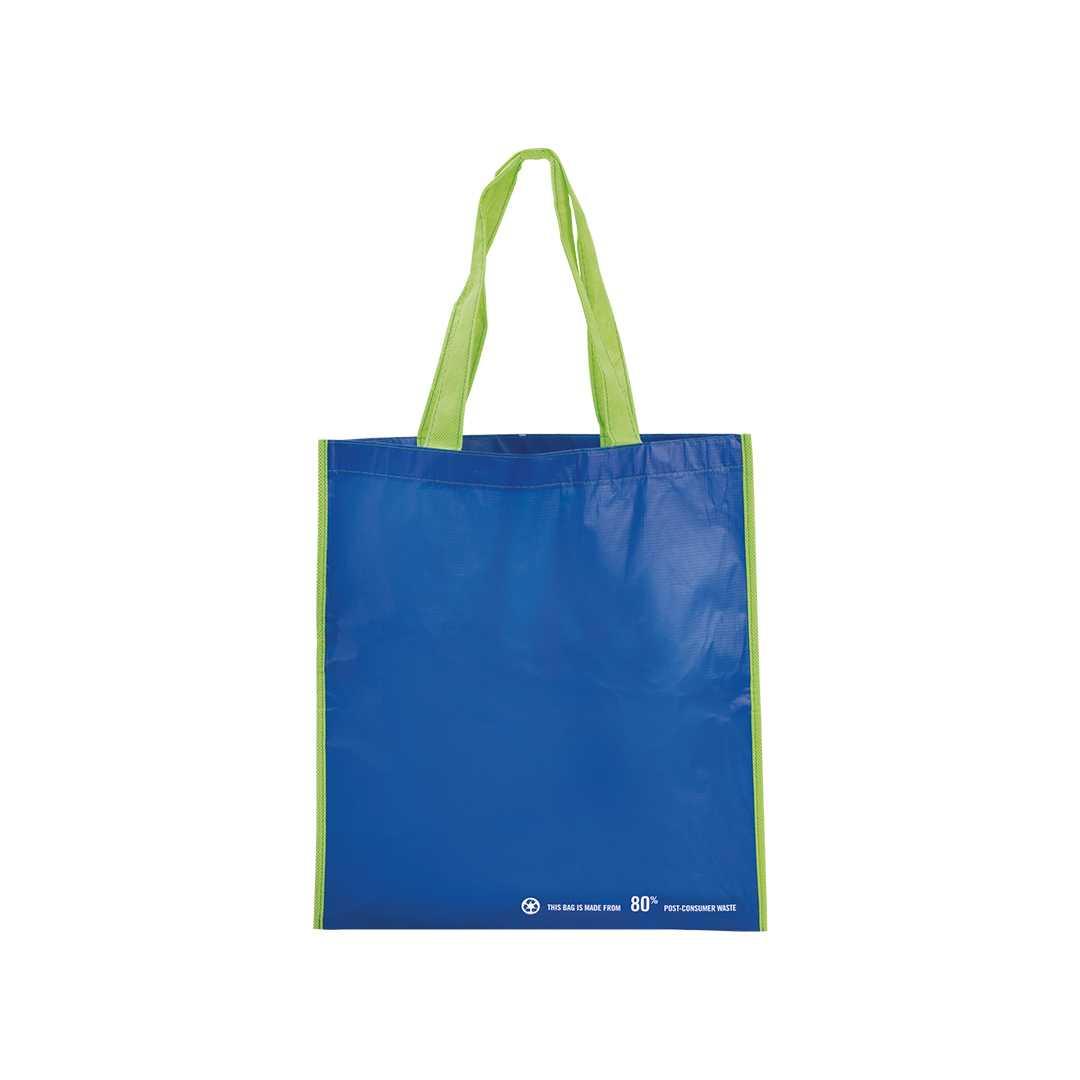 Bolsa en resistente material PET reciclado en variada gama de vivos colores brillantes. Con asas largas de 60 cm en verde y reforzadas en nylon. Fuelle en verde reforzado con ribetes. De acabado cosido y resistencia hasta 12 kg de peso.Medidas: 37,5x40,5 cmPeso: 60 gÁrea máxima de marcaje: 265x240 mmMaterial: PET reciclado 80%